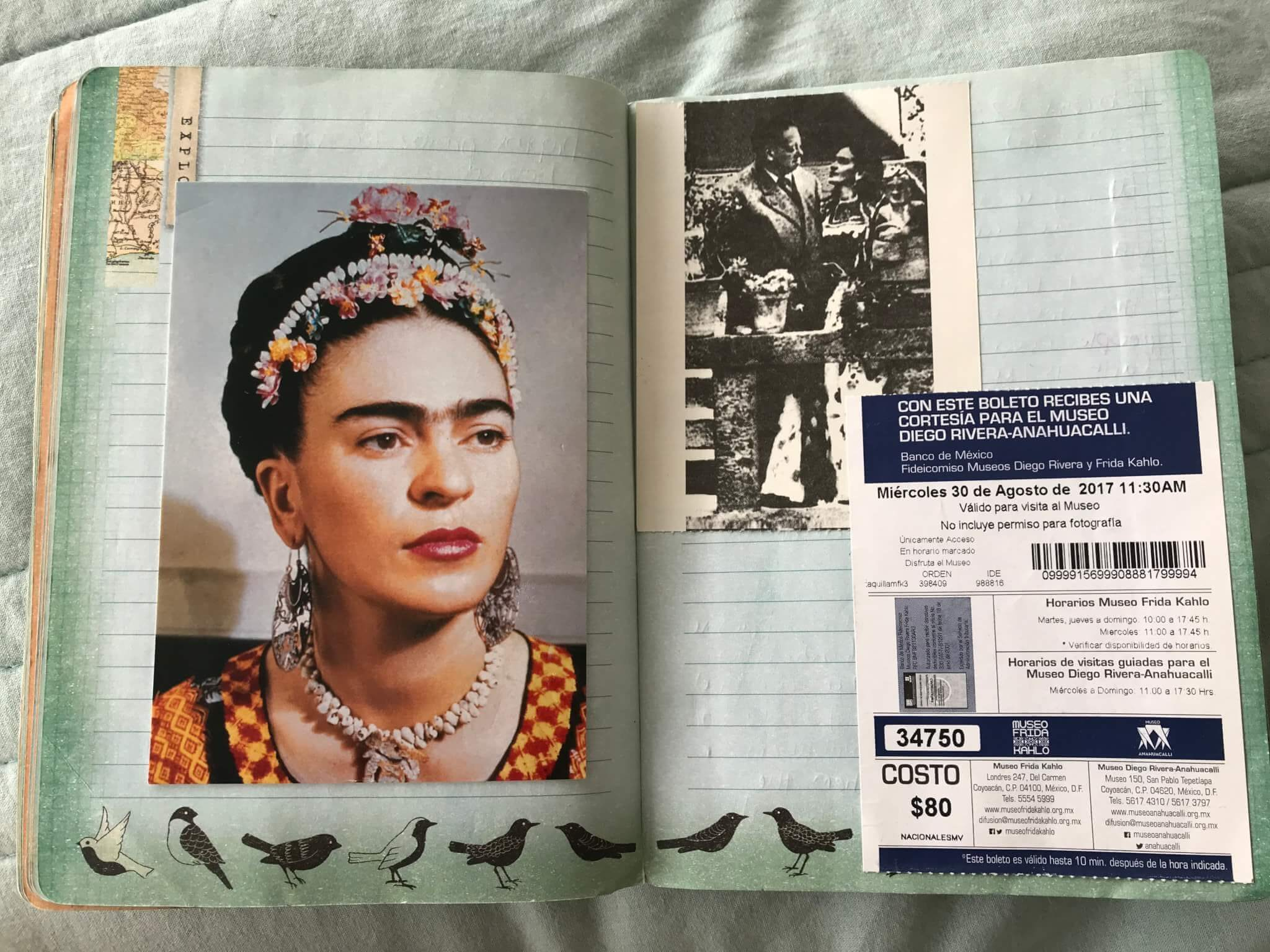 Frida Kahlo Postcard in a Travel Journal