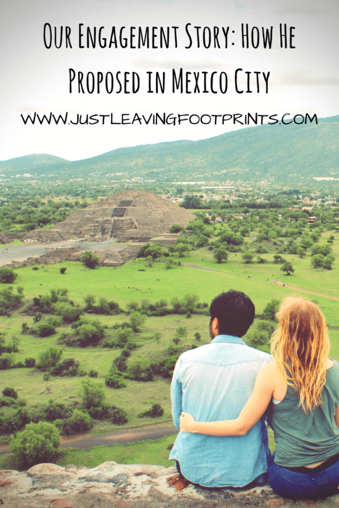 Couple sitting atop a pyramid at Teotihuacan