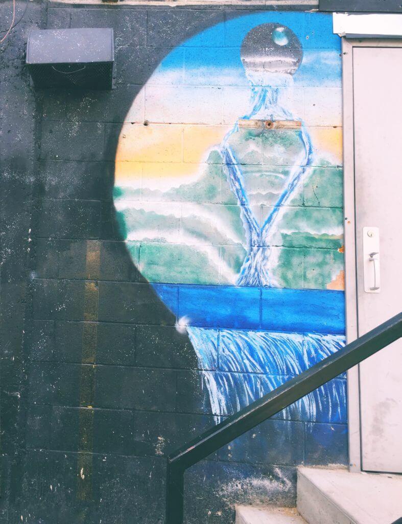 Blue and Black urban art