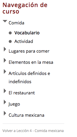 Course Navigation | Mexican Food | Hi-Spanish Online Spanish Classes