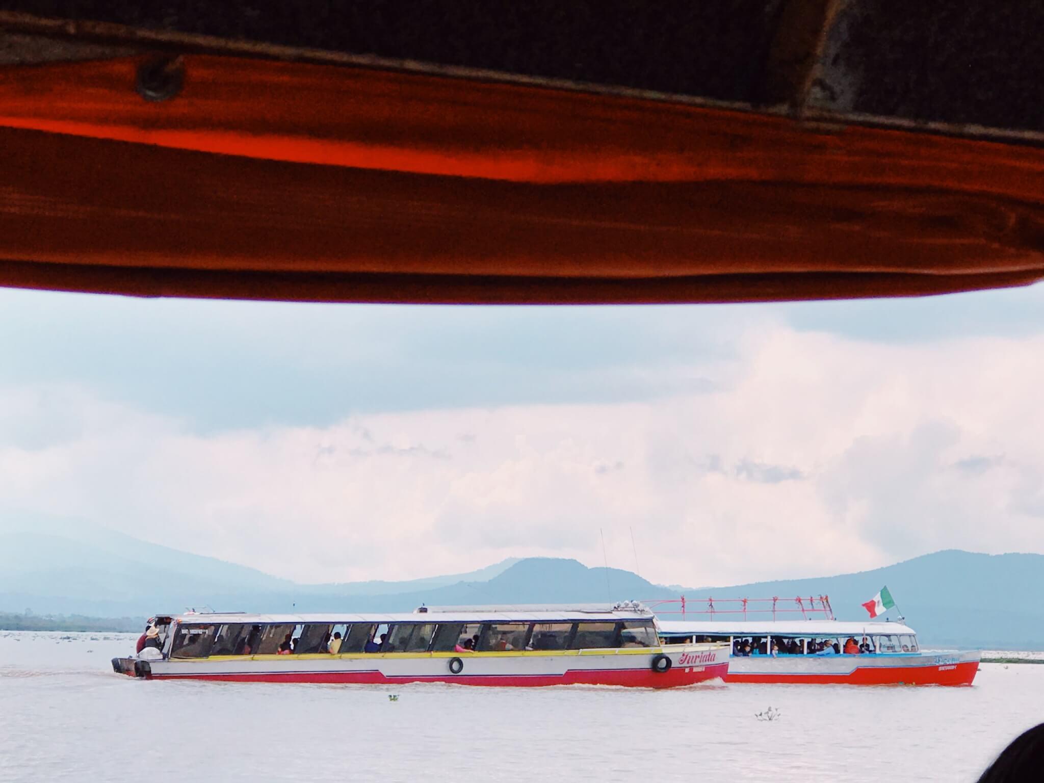 Boats on Pátzcuaro Lake in Michoacán Mexico